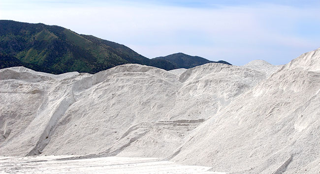 Pumice stockpiles at Hess Pumice Products in Malad Idaho